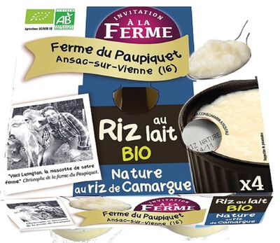 Riz au lait nature fermier bio FERME PEARD 4x125g