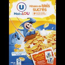 Pétales de maïs glacés au sucre U MAT & LOU, paquet de 375g