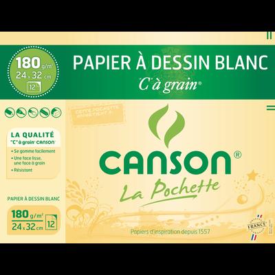 Papier dessin CANSON, 24x32 cm, 180g/m2, pochette de 12 feuilles