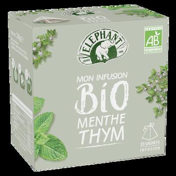 Elephant Infusion Bio Menthe Et Thym Elephant, 20 Sachets De 26g