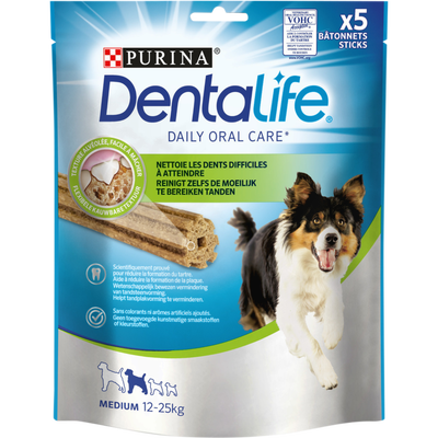 DENTALIFE medium pour chien 12-25kg, 5 bâtonnets sticks, 115g