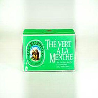 """Les 2 Marmottes """"THE VERT A LA MENTHE"""" boite de 30 sachets, 45g"""