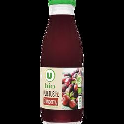 Pur jus de cranberry U BIO, bouteille en verre de 75cl