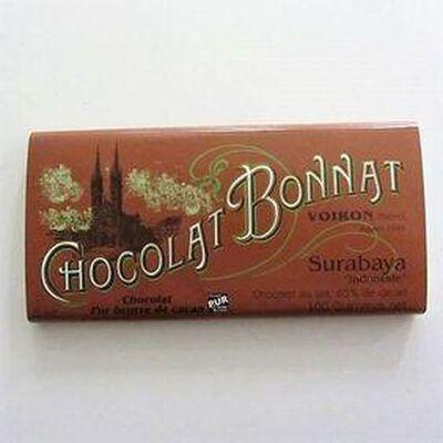 """Chocolat lait au beurre de cacao """"Surabaya Indonésie"""" BONNAT,100gr"""
