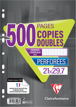 Clairefontaine Copies Doubles Clairefontaine A4, Grands Carreaux Seyes, 90g 500 Pages