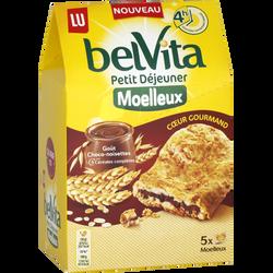 Moelleux coeur gourmand goût chocolat noisettes LU BELVITA, 250g