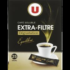 Café soluble lyophilisé extra filtre U, 25 sachets de 2g, 50g