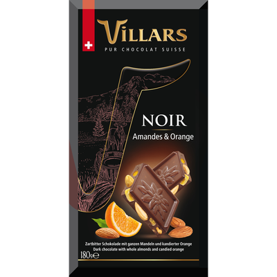 Tablette bloc gourmand noir amande orange VILLARS, 180g