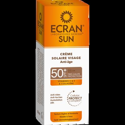 Crème solaire pour le visage anti-âge SPF50+ ECRAN, flacon de 50ml