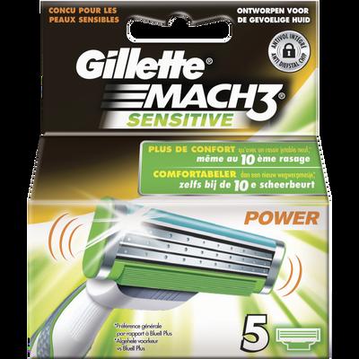 Lames mach 3 sensitive GILLETTE, 5 recharges
