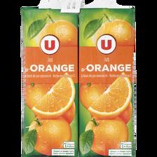 Jus à base de concentré orange U, 4 briques de 1l
