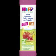 Barres pommes fruits rouges & céréales bio HIPP, dès 12 mois, sachet de 25g