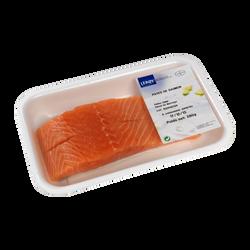 Pavé de saumon, Salmo salar, avec peau, élevé en Norvège, 2 pièces, barquette de 280g