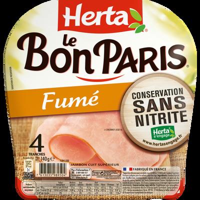 Jambon fumé conservation sans nitrites, Le Bon Paris HERTA, 4 tranches, 140g