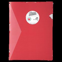 Grand cahier piqure U, petits carreaux, 24x32cm, 96 pages, rouge