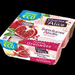 Dessert de fruits pomme/grenade sans sucre ajouté CHARL&ALICE, 4X97g Offre Economique