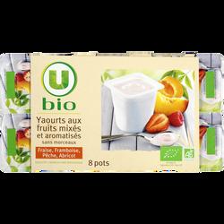 Yaourts brassés à la pulpe de fruits U BIO, 8x100g