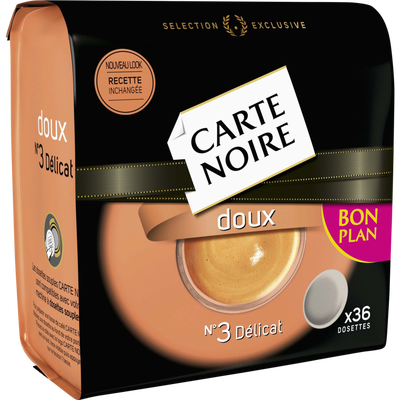 Café en dosettes doux CARTE NOIRE, 36 dosettes soit 250g
