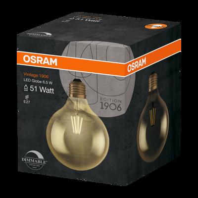 AMPOULE LED 1906 OSRAM GLOBE 51W E27 VERRE FILAMENT CLAIR OR LUMIERE CHAUDE VARIATEUR