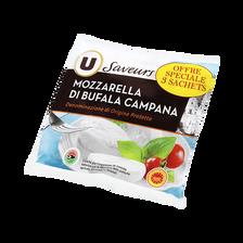 Mozzarella AOP di bufala Campana lait pasteurisé, U SAVEURS, 25% de MG, 3x125g