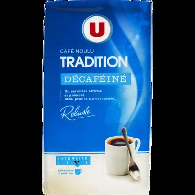 Café tradition moulu décaféiné U, paquet de 250g
