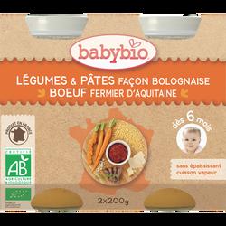 Pot de légumes pâtes bolognaise boeuf, BABYBIO, dès 6mois, 2x200g