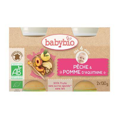 Pot Pêche Pomme BABYBIO dès 4 mois 2x130g
