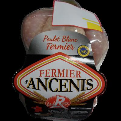 Poulet fermier blanc élevé en plein-air ANCENIS, 1,1kg-1,5kg