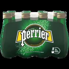 Eau gazeuse PERRIER, pack de 8, bouteilles de 20cl