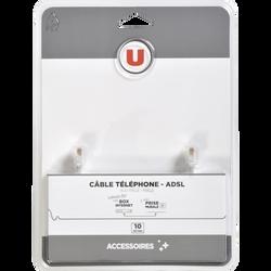 Câble ADSL U RJ11 M/RJ11 M, 10m, connecteur 1 RJ11 6P4C mâle, connecteur 2 RJ116P4C mâle, connecteurs plaques nickel blanc