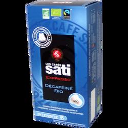 Café décafeiné espresso fairtrade bio CAFE SATI, 10 capsules, 55g
