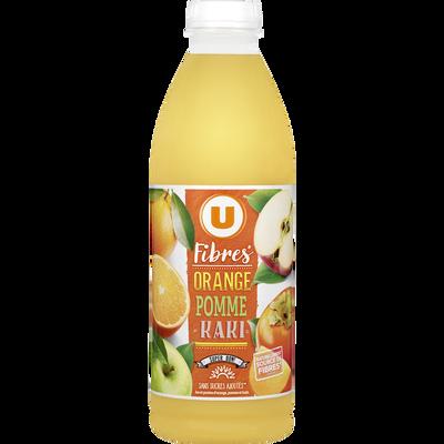 Jus de fruits fibres orange pomme kaki U, bouteille de 1l