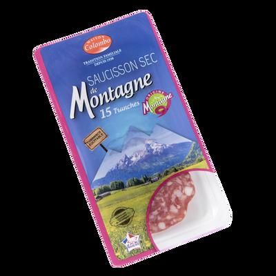 Saucisson sec pur porc supérieur produit de montagne COLOMBO 15 tranches 100g