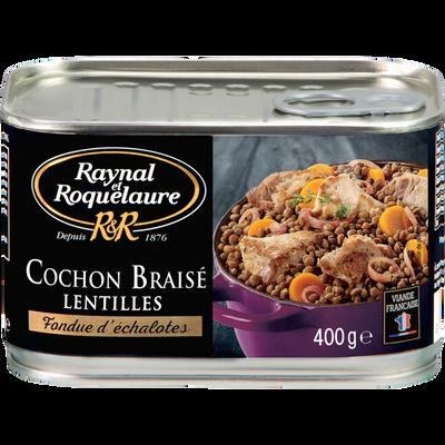 Cochon braisé lentilles fondue d'échalotes RAYNAL ET ROQUELAURE, boîtede 400g