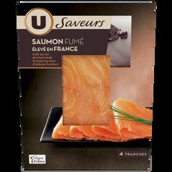 Saumon de France fumé aux bois d'arbres fruitiers U SAVEURS, 4 tranches, 120g