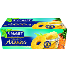 Grand ananas sirop tranches x4, SAINT MAMET, boîte de 2x1/4, 270g