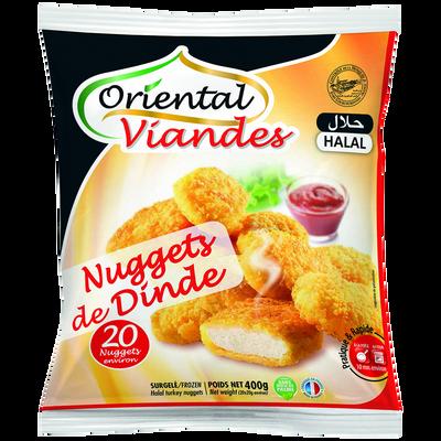 Nuggets de dinde surgelé halal ORIENTAL VIANDES, sachet de 400g
