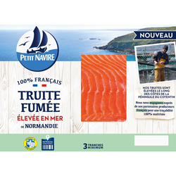 Truite fumée élevée en mer PETIT NAVIRE, 3 tranches, 100g
