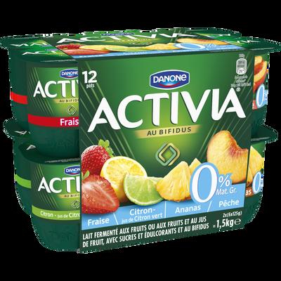 Lait fermenté maigre aux fruits panachés bifidus ACTIVIA,0% 12X125g
