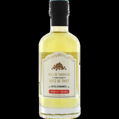 Huile de tournesol à l'extrait natuel de baies de timut ALBERT MENES, bouteille de 250ml