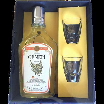 Genepi Le classique 40%, coffret bouteille de 20cl +2 verres
