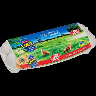 12 moyens oeufs fermiers Label Rouge LOUE