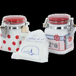 Fleur de sel de Noirmoutier SEL MARIN DE L'ILE DE NOIRMOUTIER, mini pot en céramique de 50g