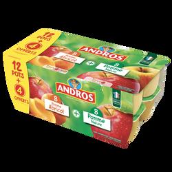 Dessert pomme et Spécialité pommes/abricot ANDROS 12x100g +4 offerts