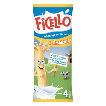 Ficello Fromage Pasteurisé Emmental Ficello, 22,5%mg, 4x12g