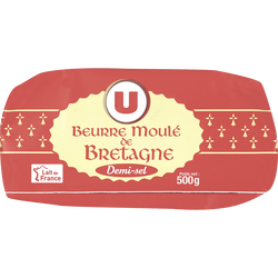 Beurre moulé demi-sel U, 80%MG, 500g