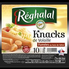 Knacks de volaille halal REGHALAL, 10x350g