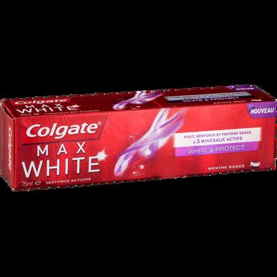 Dentifrice max white blancheur et protection COLGATE, tube de 75ml