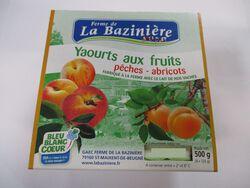 yaourts aux fruits, BLEU BLANC COEUR, au lait entier de vache, pêches et abricots, La Bazinière, pot 4x125g
