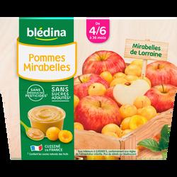 Coupelles 100% fruits pommes/mirabelles BLEDINA, de 8 à 36 mois, 4x1 00g